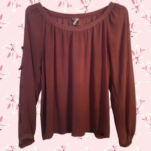 {Lauren Conrad} Sheer Mauve Cold Shoulder Blouse